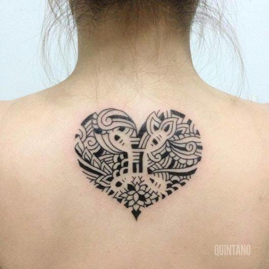 Awesome custom-designed Heart Mandala tattoo by Jef Quintano, Good Hand Tattoo (Philippines).
