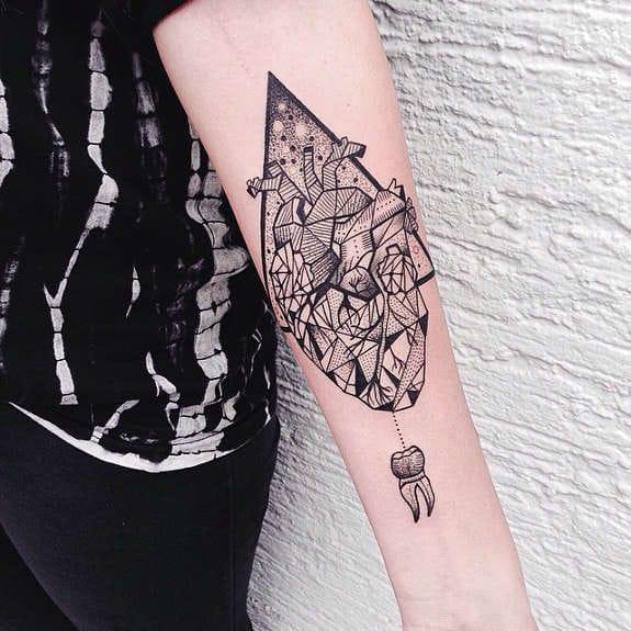 Cool Geometric Heart Tattoo by Jessica K.