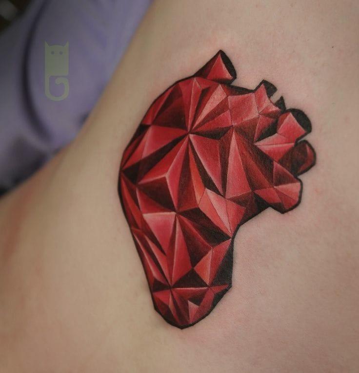 Awesome Geometric Heart Tattoo by Gleb Ivanov.