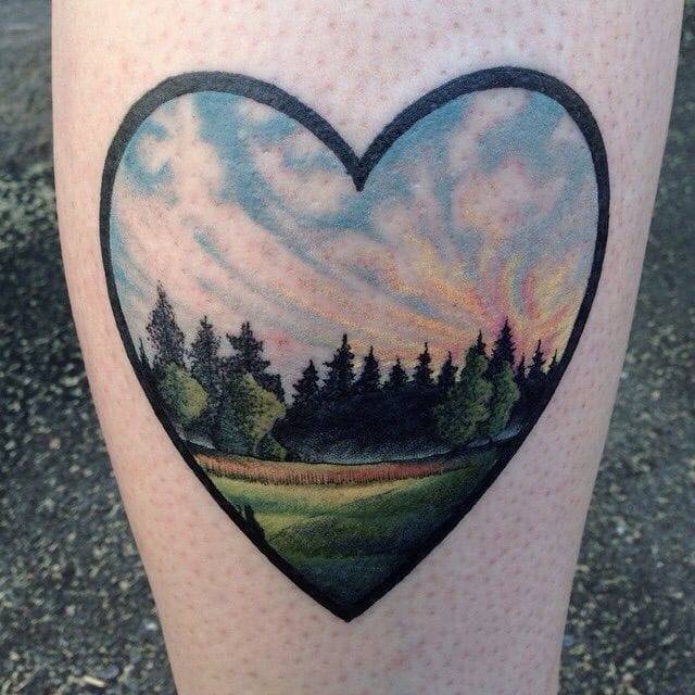 Love this calming scenery heart tattoo by Johannes Folke