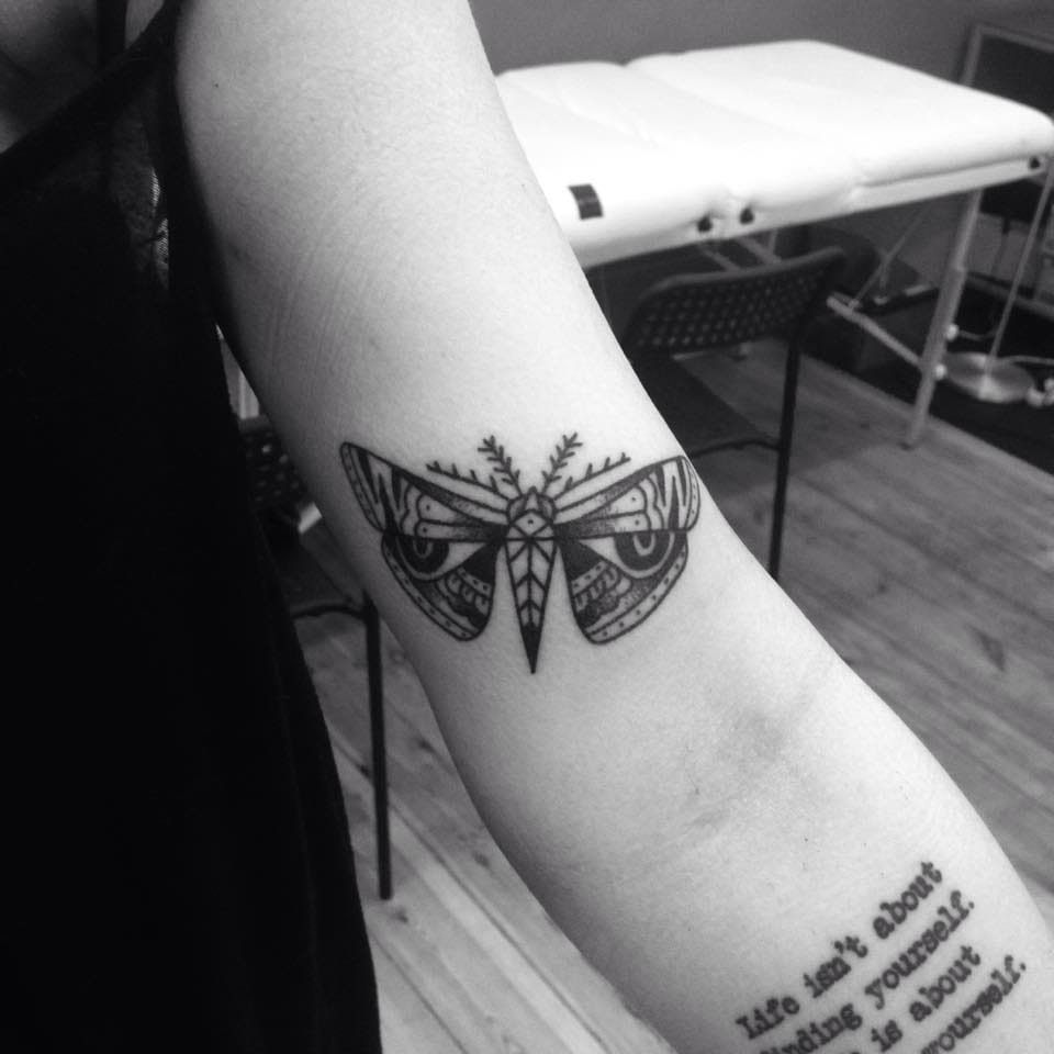 Moth Tattoo by Blame Max Tattoo