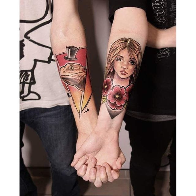 Awesome neo-traditional matching tattoos by Laura Koniecza #matching #coupletattoos #neotraditional