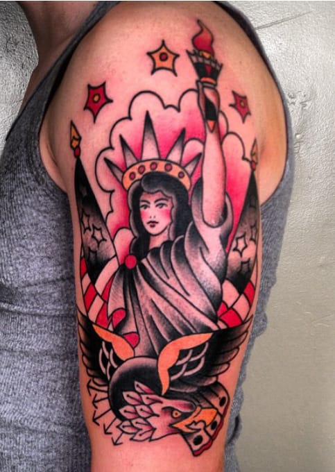 Lady Liberty Tattoo by Three Kings