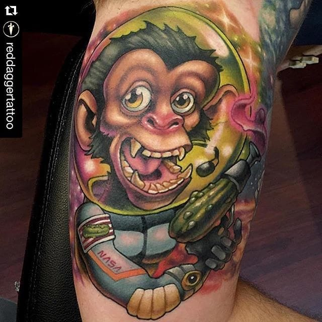 Space Monkey Tattoo by Aaron Springs