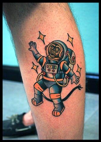 Space Monkey Tattoo by Ben T. Fiedler