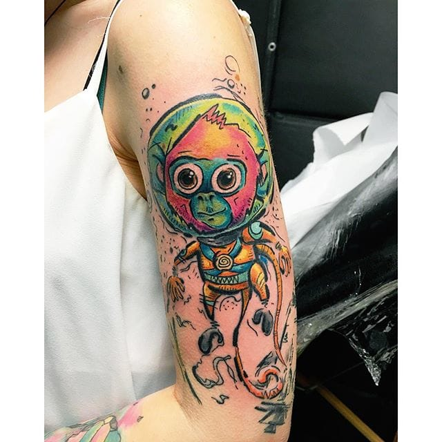 Space Monkey Tattoo by Marco Skizzo