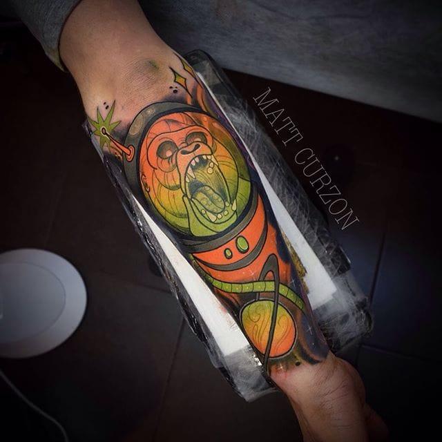 Space Gorilla Tattoo by Matt Curzon