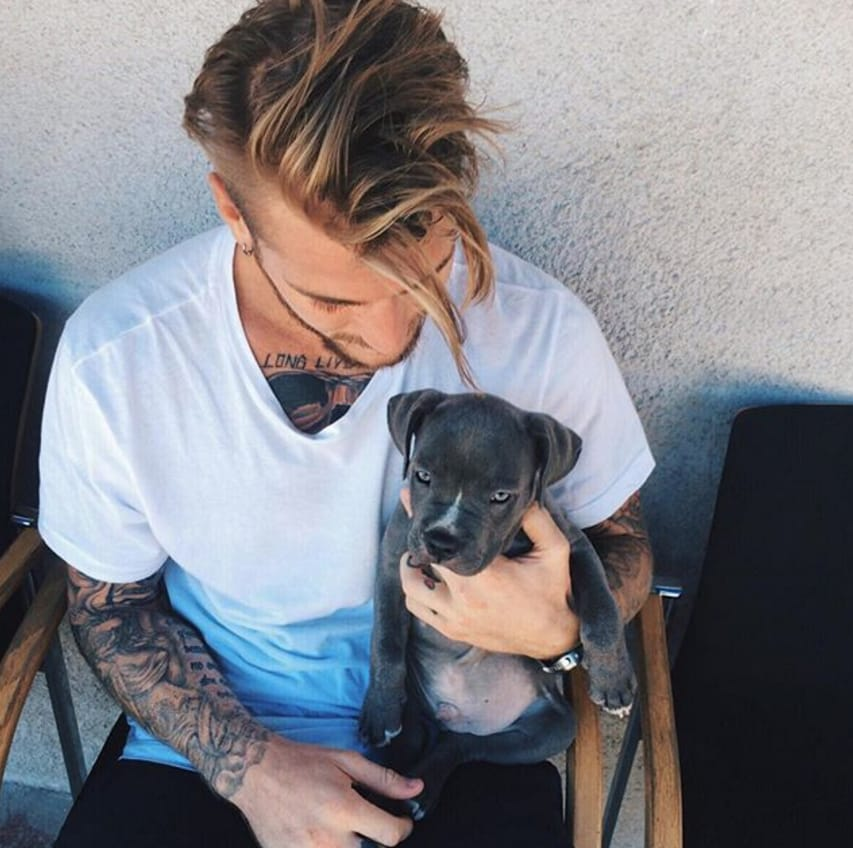 Because nothing is better than a hot guy with a puppy.