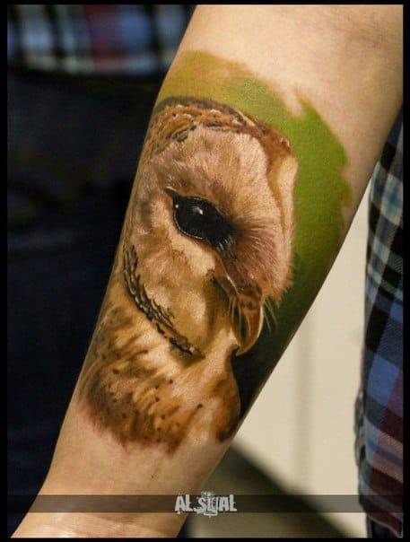 Realistic owl tattoo. Photo: vk.com.