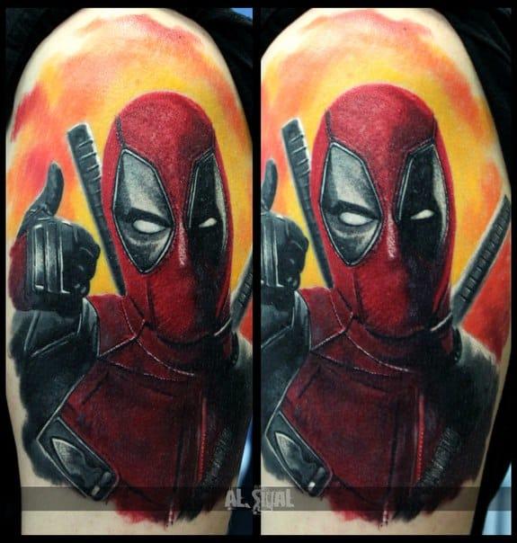 Realism Deadpool tattoo by Aleksandr Romashev. Photo: vk.com.