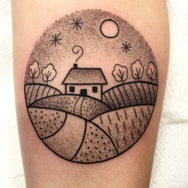Mini landscape tattoo by by Valeria Marinaci. Photo: Instagram.