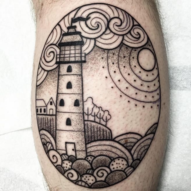 Lighthouse tattoo by by Valeria Marinaci. Photo: Instagram.