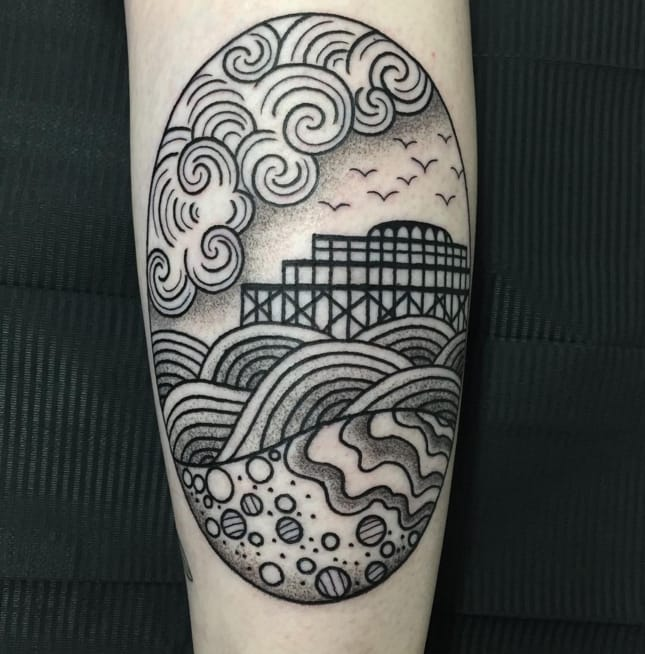 Brighton West Pier tattoo by Valeria Marinaci. Photo: Instagram.