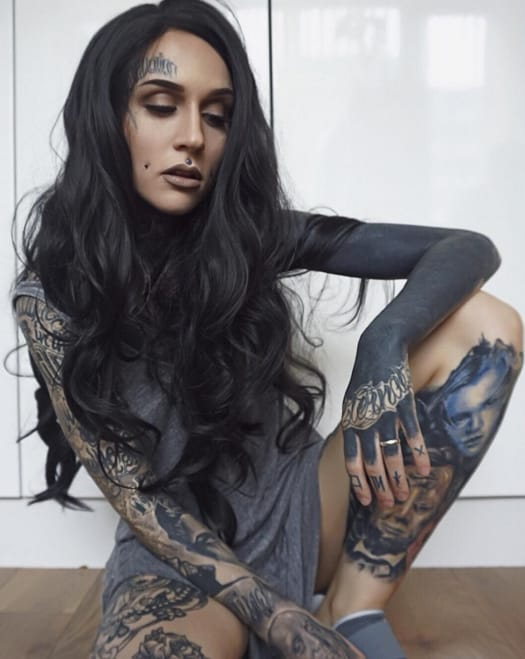 None more black than blackout sleeve tattoos tattoodo for Tattooed girl instagram