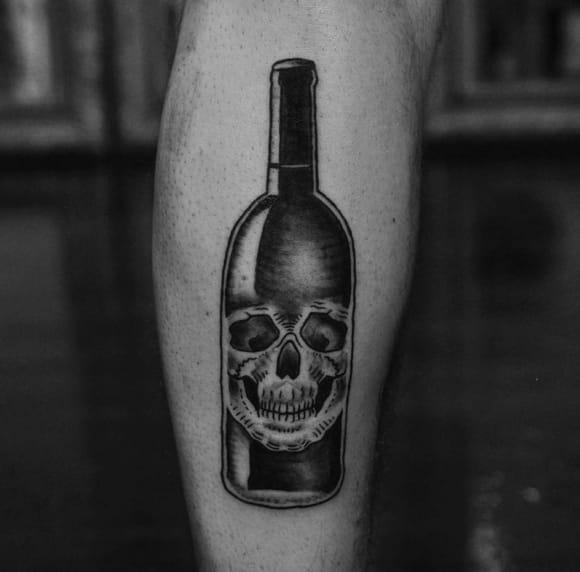Skull wine bottle by Josh Darkly. Photo: Instagram.
