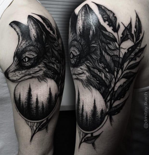Fox and forest tattoo by Dmitriy Tkach. Photo: Instagram.