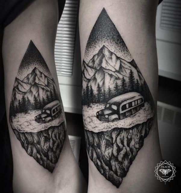 Magic bus tattoo by #DmitriyTkach. Photo: Instagram.