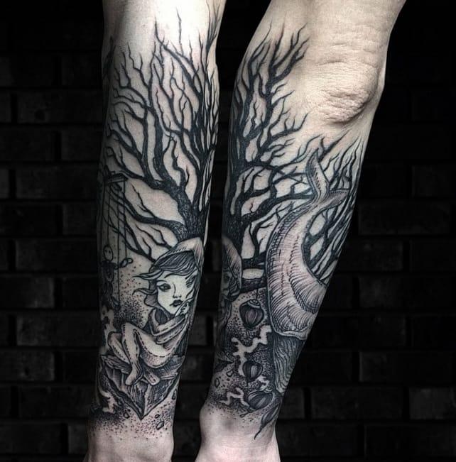Half sleeve tattoo by #DmitriyTkach. Photo: Instagram.