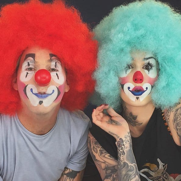 Kat and Steve-O clown around during one of her make-up tutorials...