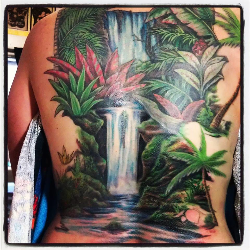 20 waterfall tattoos tattoodo for Tropical themed tattoos