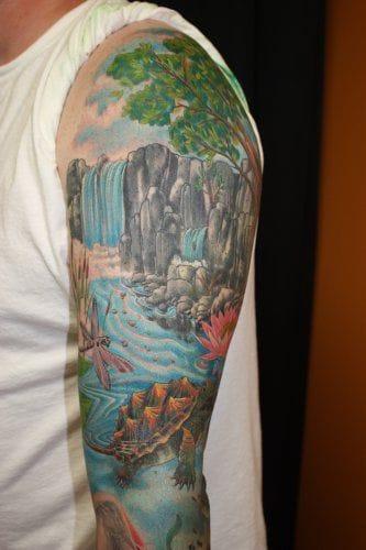 Waterfall tattoo by Jeremy Buschmann