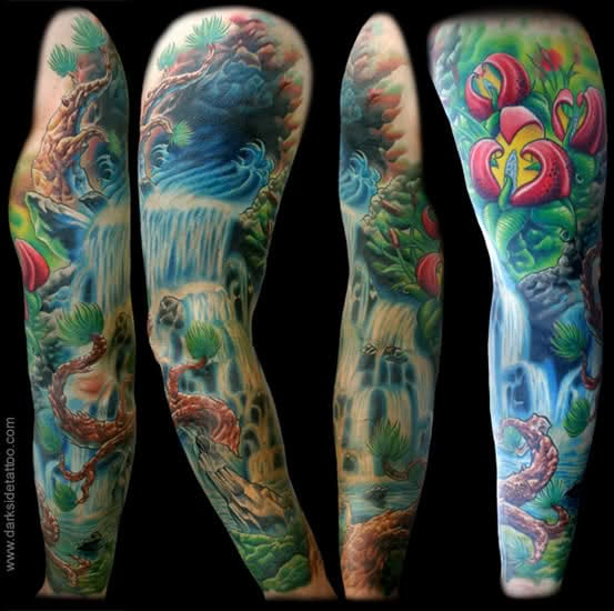 Colorful waterfall sleeve by Nick Baxter