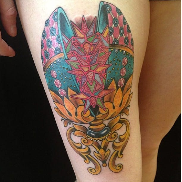 Beautiful Faberge Egg Tattoo done at Grim North Tattoo