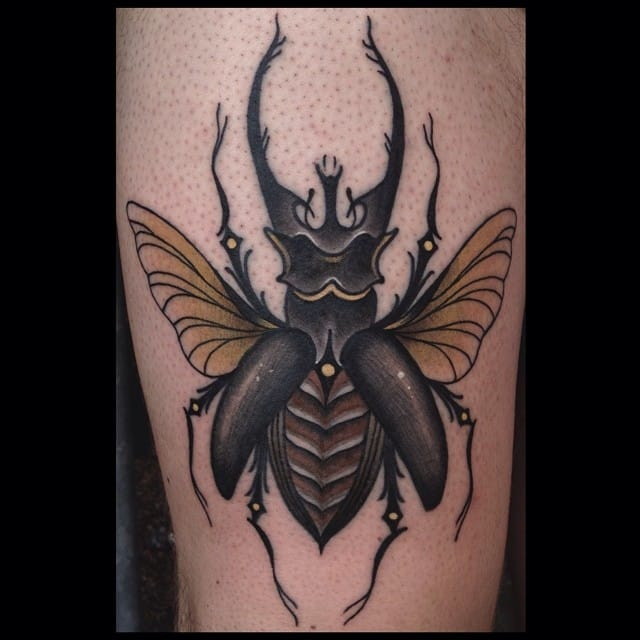 Love the dead but saturated colors of this Beetle Tattoo by Marcelina Ubranska, Dragstrip Tattoo UK