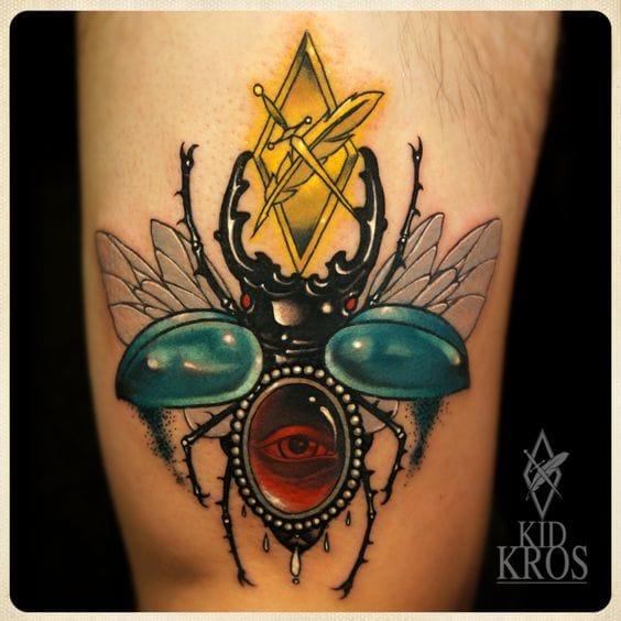 Solid Beetle Tattoo by Kid Kros