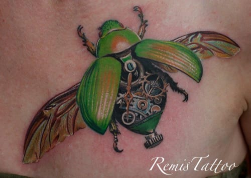 Beautifully detailed Beetle Tattoo by Remis