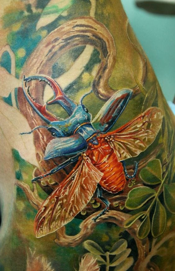 Realistic bug tattoo by Alexander Pashkov