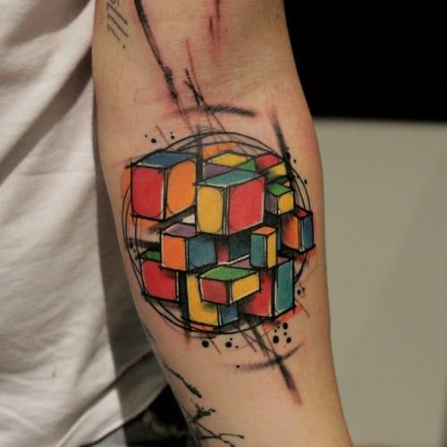 8 fun trippy rubik 39 s cube tattoos tattoodo. Black Bedroom Furniture Sets. Home Design Ideas
