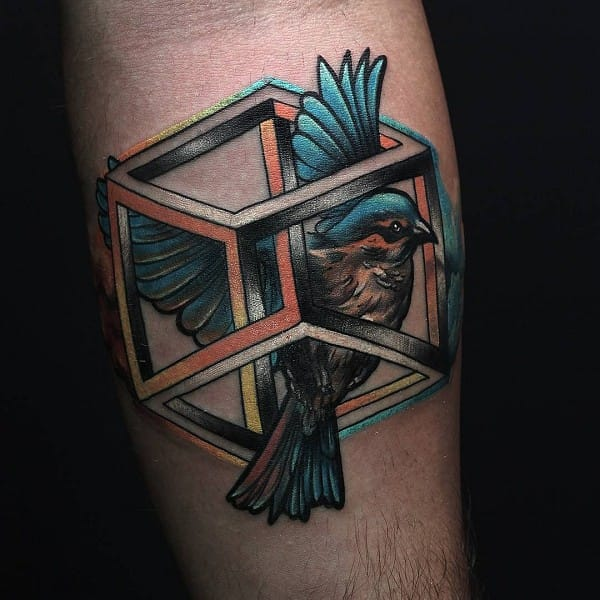 8 Trippy Impossible Cube Tattoos