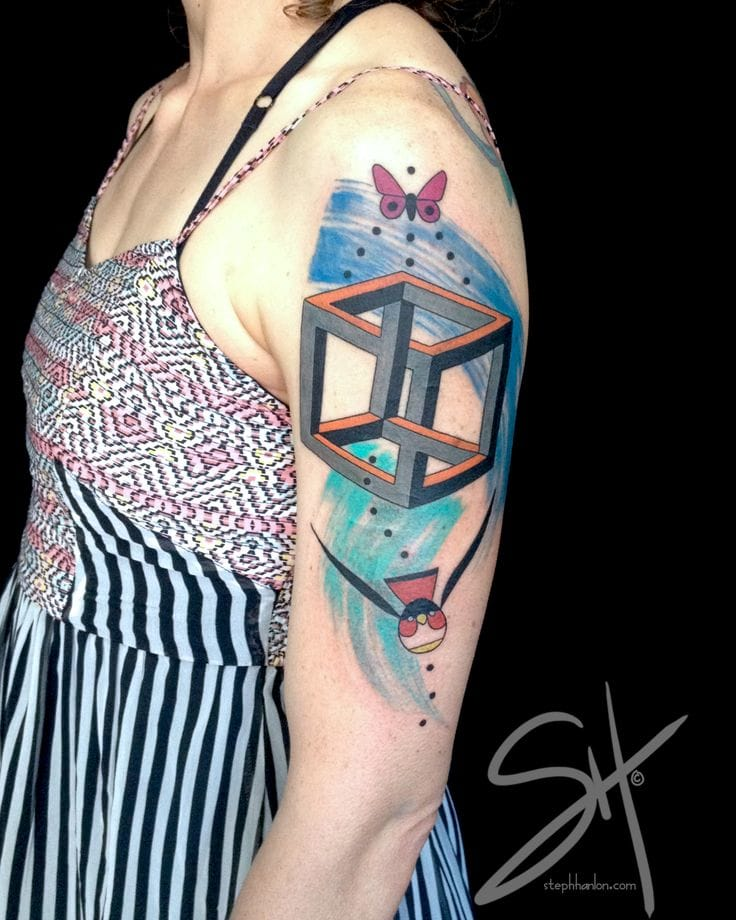 Impossible Cube Tattoo by Steph Handon