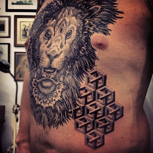 WTF! More impossible cubes!!! Awesome dotwork Impossible cube Tattoo by Gregorio Marangoni, we hope his eyes are doing fine after tattooing this!
