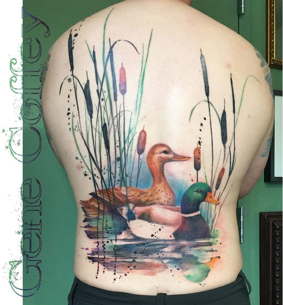 Gorgeous full back mix of realism and watercolor by Gene Coffey