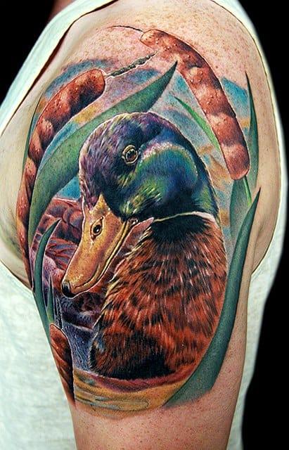 Realistic Mallard duck tattoo by Cecil Porter