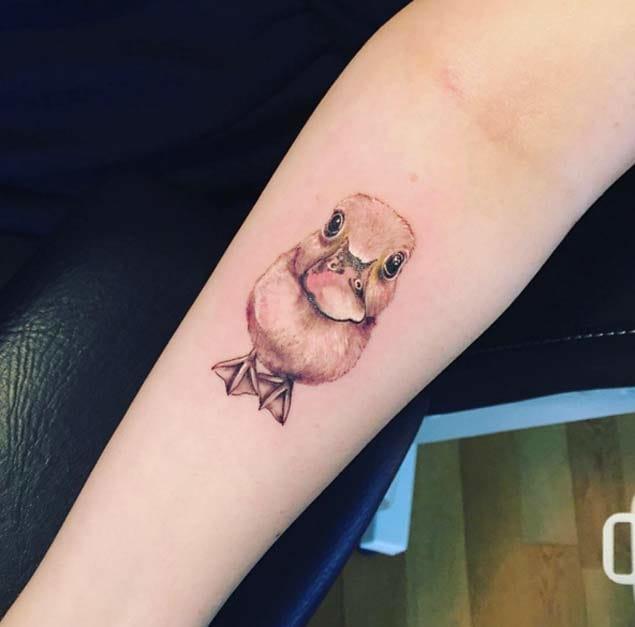 Hyperrealistic duckling tattoo by Dave B