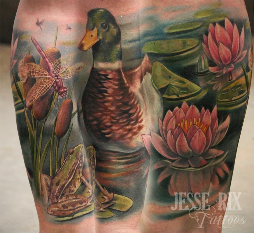 Gorgeous realistic Mallard duck nature scene by Jesse Rix