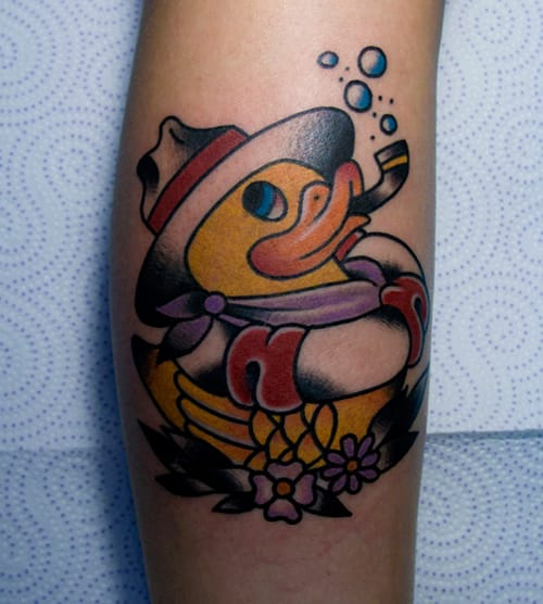 Original neotraditional Rubber Duck by Burnout Ink Tattoo