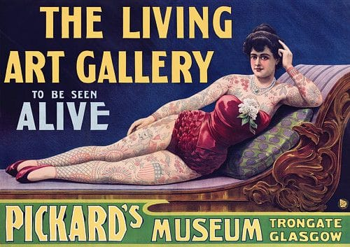Poster for a tattooed lady show in 1907.