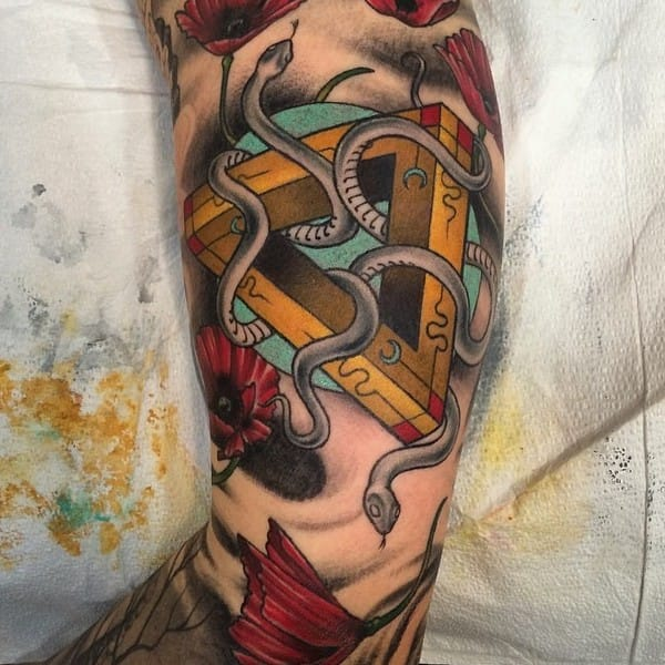 Beautiful & Colorful Penrose Triangle Tattoo by Eli Bischof