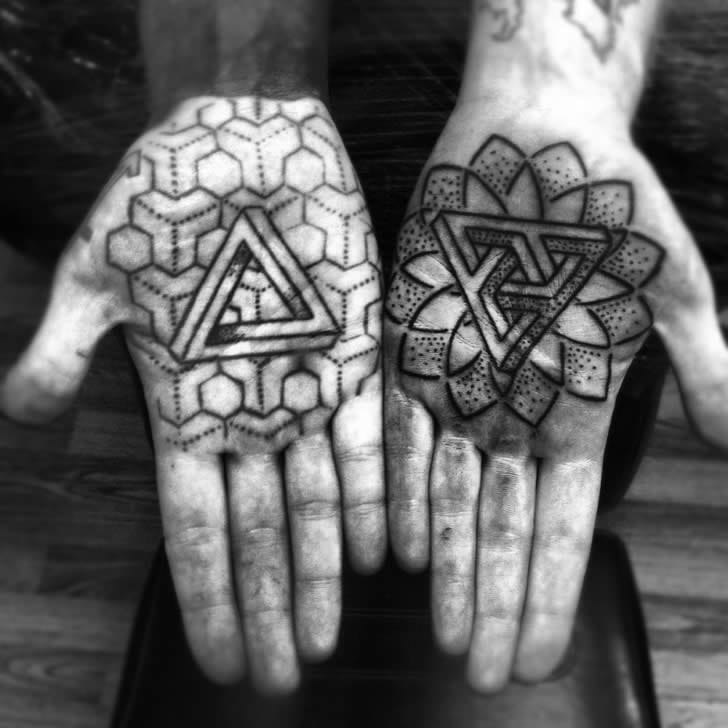 Awesome Penrose Triangle Palm Tattoos by Jason Zigzag Corbett