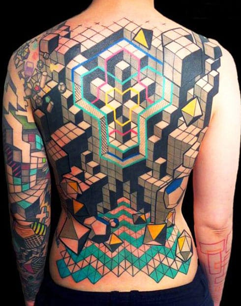 Awesome back piece reminds me of 3-Dimensional Tetris! Spectacular Geometric Cube Tattoo by Delaine Gilma