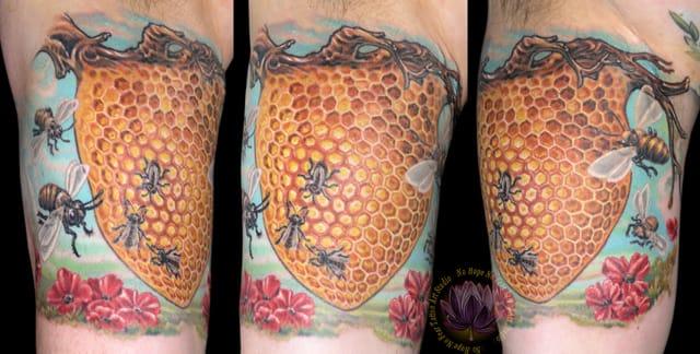Beehive tattoo, artist unknown