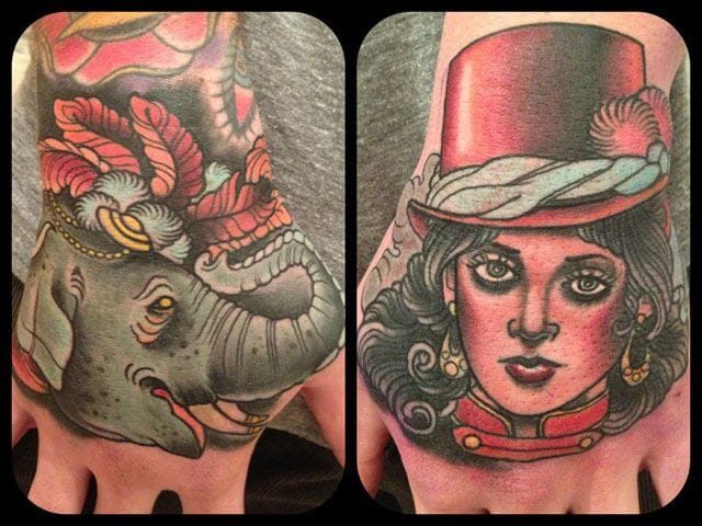 Elephant and ringmistress on the hands for Annie Frenzel.