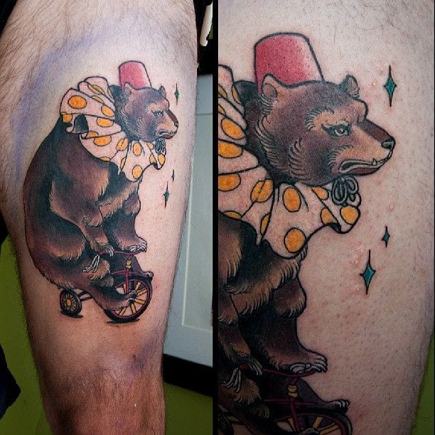 Funky circus bear (unknown artist, tell us).