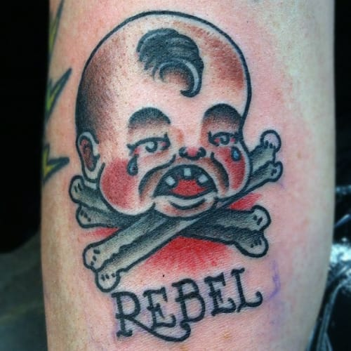 Baby punks not dead! Rebellious Crying Baby Tattoo by Paul Nycz