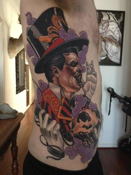 Epic ringmaster tattoo by Emily Rose Murray.