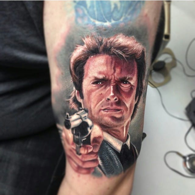 Clint Eastwood Tattoo by Paul Acker